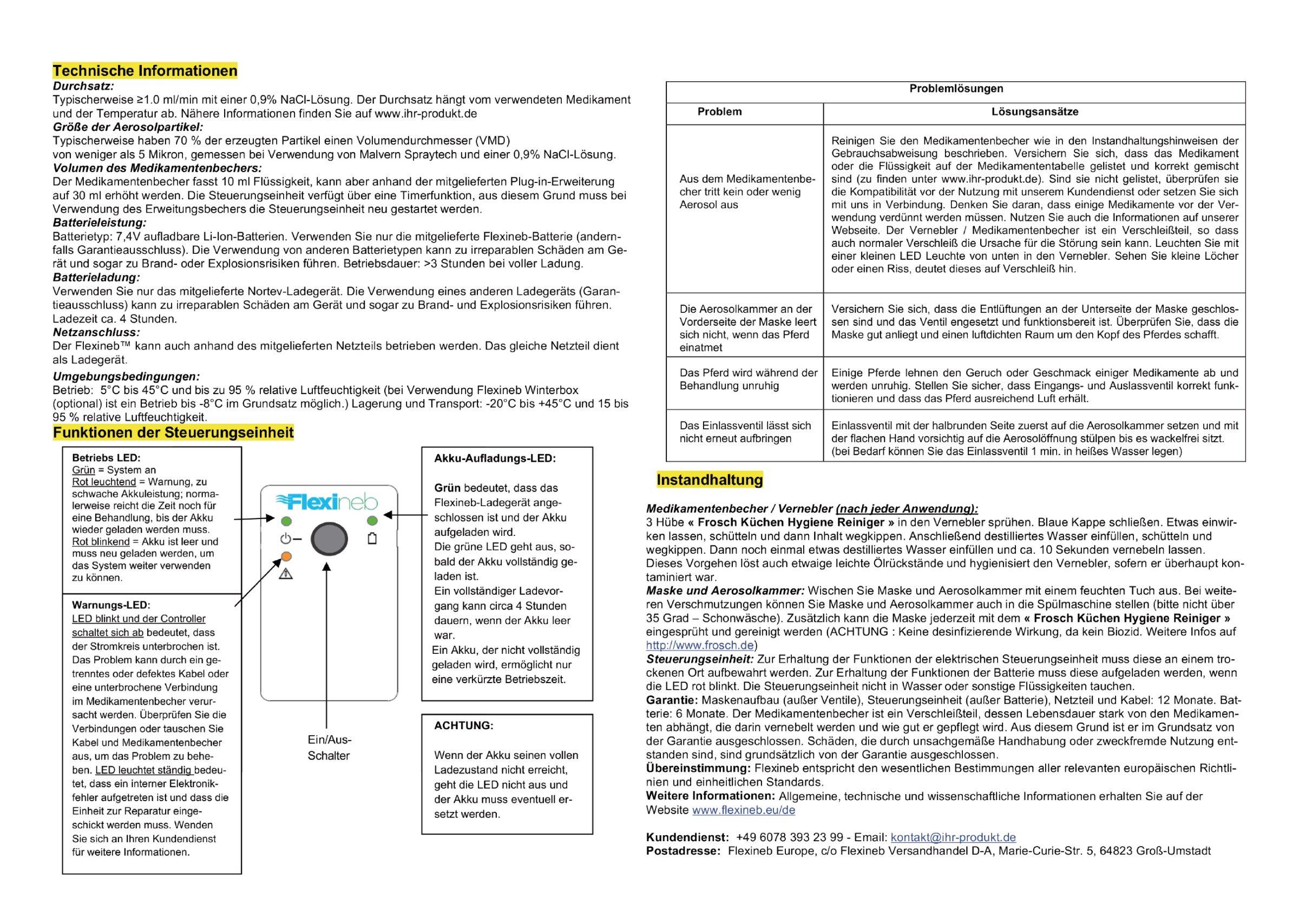Gebrauchsanweisung Flexineb E2 De 06 19 2