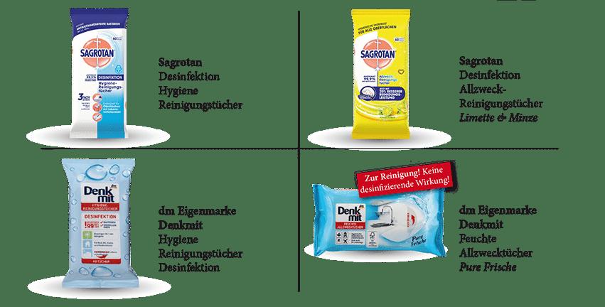 Desinfektionstuecher Uebersicht